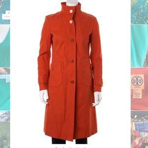 Tory Burch crisp orange canvas trench coat